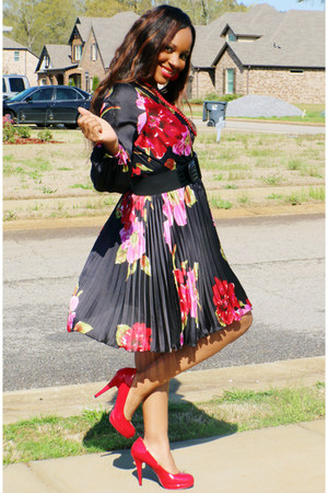 floral dress boutique dress - red Steve Madden heels