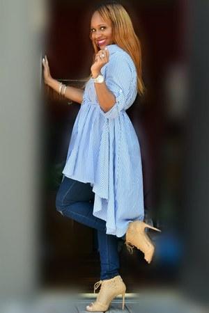 blue and white Trish M top - dark denim Trish M jeans