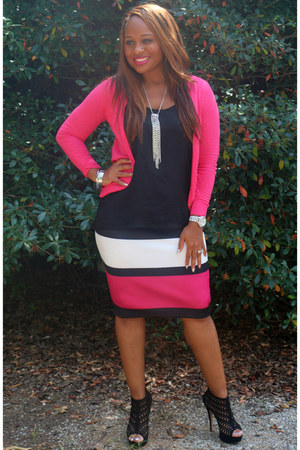 black black Aldo heels - hot pink JCPenney skirt
