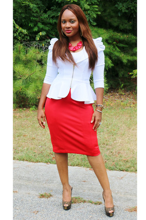 red Express skirt - white SB Boutique blazer - Fendi heels