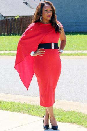 red SB Boutique dress - black calvin klein heels