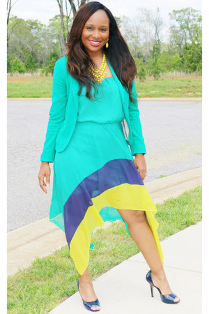 turqoise H&M blazer - multi Charlotte Russe dress - navy Jessica Simpson heels