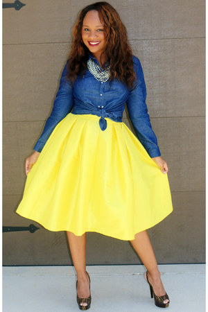 yellow Pretty Pieces skirt - denim Canyon Blues shirt - Fendi heels