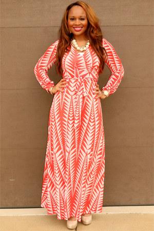 coral and creme Trish M Fashions dress