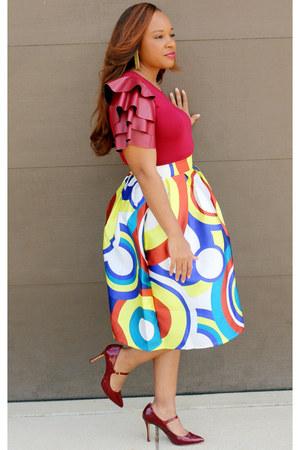 burgundy Pretty Pieces Boutique top - multi Pretty Pieces Boutique skirt