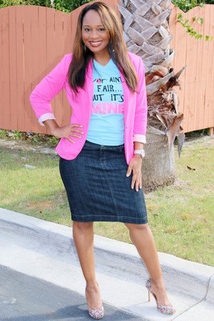pink H&M blazer - turquoise Trish M t-shirt - denim Ross skirt