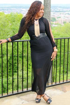 black Vince Camuto heels - black maxi Thrift Store dress