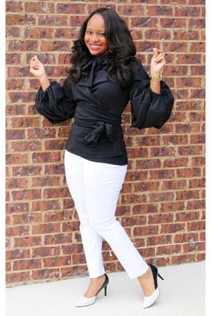 black SB Boutique blouse - black and white DSW heels