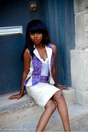 purple blouse - white jersey blouse - purple skirt