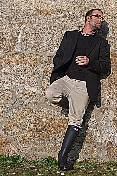 black mens Hunter boots - black wool Easy Wear blazer