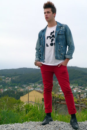 black blucher Shoes &amp; Piel shoes - ruby red colorful Stradivarius jeans