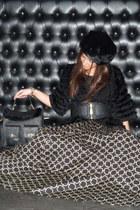 black fur Cuple hat - black fur Cuple jacket - black leather Cuple belt