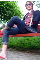 red casual green coast shirt - navy old Bershka jeans