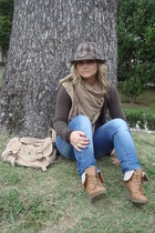 camel basic Primark scarf - light brown military Marypaz boots