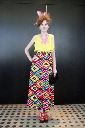 vintage skirt - vintage whiting & davis purse - Charlotte Russe necklace