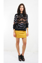 sequin cotton vintage sweater - leather vintage skirt