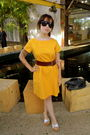 Yellow-vintage-dress-brown-divided-belt-white-thrifted-shoes-black-urban-o