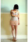 White-thrifted-top-pink-h-m-dress-beige-thrifted-shoes-black-forever-21-su