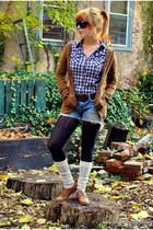 blue Forever 21 shirt - tawny Adriana sweater - sky blue abercrombie & fitch sho