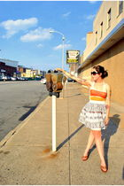 white BDG top - white Forever 21 skirt - brown thrifted shoes - black Forever 21