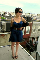 blue thrifted forever 21 dress - brown Divided belt - black unknown scarf - brow