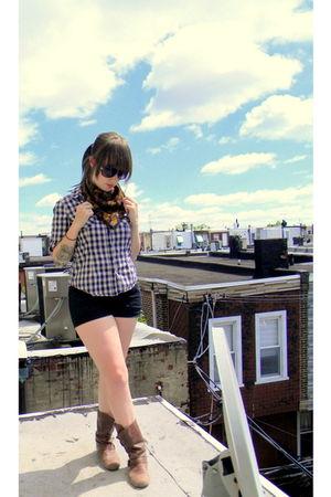 blue Forever 21 shirt - black xhilaration shorts - brown Blowfish boots - black