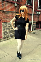 black H&M dress - black Heritage 1981 belt - ivory Forever 21 tights - black For