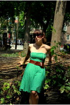 green go jane dress - brown Divided belt - black thrifted shoes - black sunglass