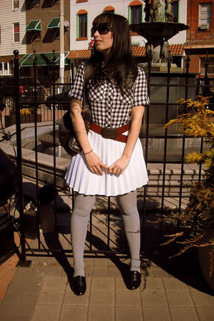 white Urban Outfitters blouse - white thrifted skirt - gray Forever 21 tights -