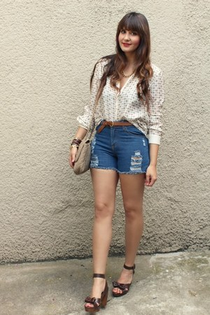 Sheinside shorts - Zara blouse