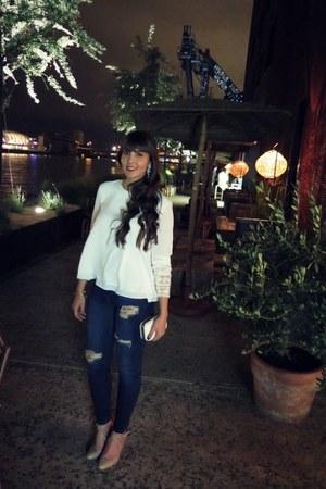Zara heels - pull&bear jeans - Zara blouse