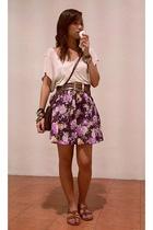 beige Topshop t-shirt - brown belt - purple theclosetqueenmultiplycom skirt - br