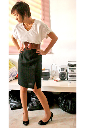 department store skirt - shirt - thrifted belt