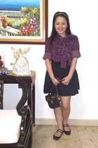 purple Marc Jacobs blouse - black People are People skirt - black Topshop shoes