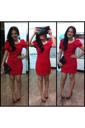 red asos dress - black Dorothy Perkins purse - leopard People are People pumps