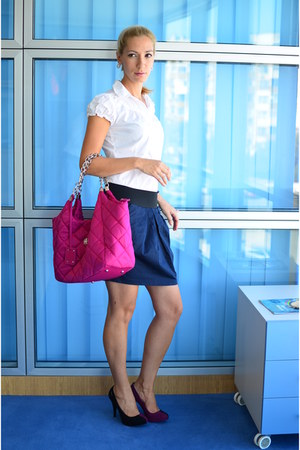 hot pink Accessorize bag - white Newlook shirt - navy Vila skirt