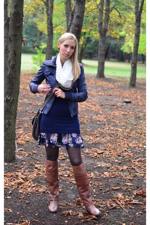 bronze bronx boots - navy Atmosphere dress - navy Bershka jacket