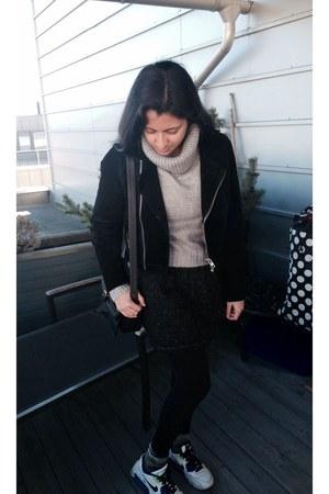 black biker suede jacket - heather gray sweater - black wool vintage skirt