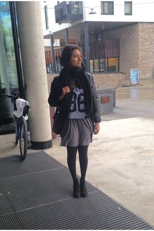 black Zara boots - gray dress - black scarf - black H&M stockings