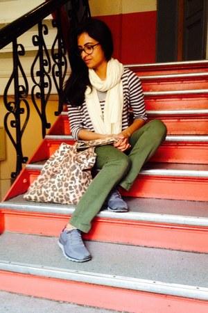 white striped shirt - cream scarf - eggshell leopard print Accessorize bag
