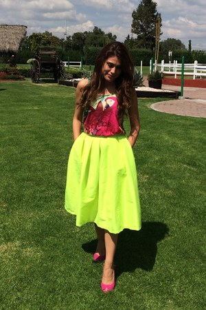 blouse - yellow neon midi Choies skirt