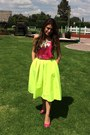 Blouse-yellow-neon-midi-choies-skirt