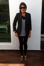 black faux leather Mango leggings - silver mens H&M t-shirt