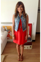 carrot orange Forever 21 dress - denim Bershka vest - H&M sandals