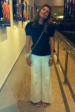 white Zara pants - Mango bag - black peplum asos blouse - Zara sandals