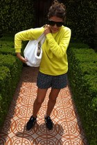 yellow asos sweatshirt - black Sheinside shorts - black New Balance sneakers