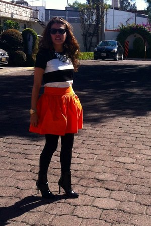black Zara boots - orange Zara skirt - black asos blouse