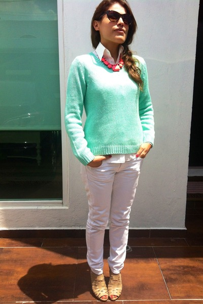 Mango jeans - mint Forever 21 sweater - Nine West sandals