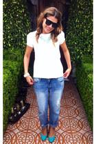 boyfriend asos jeans - ivory Zara blouse - turquoise blue Zara pumps