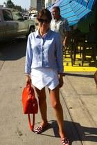 blue Forever 21 shirt - white Sheinside shorts - Zara loafers